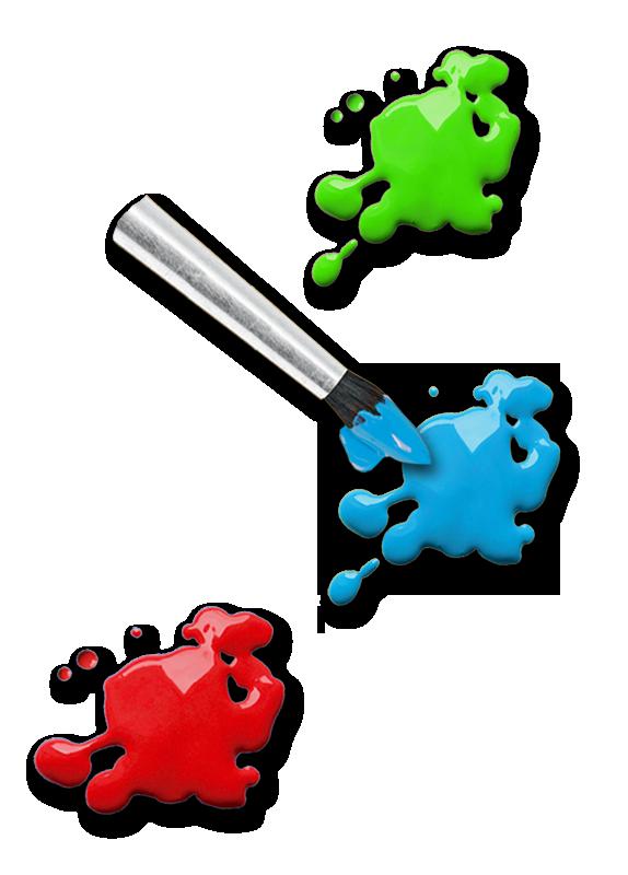 Pinsel mit Farbklecksen