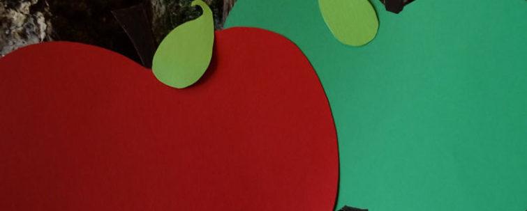 roter und grüner Pappapfel