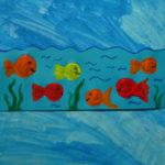 Korkendruckbild mit Fischen